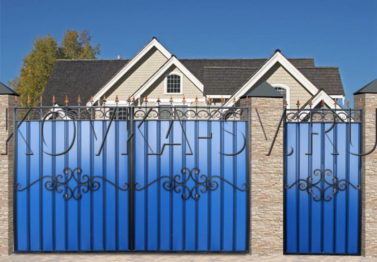 Ворота с элементами ковки фото 6